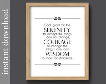 Serenity Prayer, serenity printable, digital download, inspiration print, encouragement, AA support, emotional support, Reinhold Niebuhr