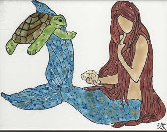 Mermaid #231 Pet Turtle Hand Painted Kiln Fired Decorative Ceramic Wall Art Tile 8x6