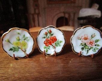 Hand painted 3 ornamental ceramic plates