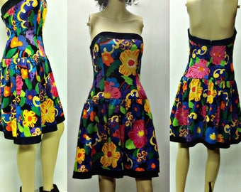 80's 90's funky floral ,neon mini,party,disco,retro dress