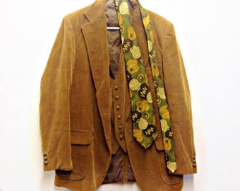 70's MENS CORDUROY SUIT Jacket,Blazer,Tie,Vest,Funky Golden Brown