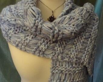 Ice-Blue Cosy Scarf, Handknit in a Chunky Wool Blend Yarn