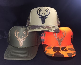 Deer Head truck/deer head hat/deer head/glitter trucker hats/hunting