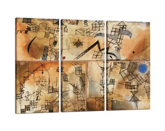On canvas Tris framed Paul Klee Three-Part Composition