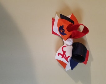 House Divided Hairbow, Alabama, Auburn, Stacked Hairbow