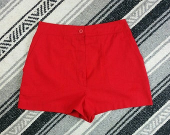 Vintage 1970s Catalina Red High Waisted Boardshorts / Hot Pants size 27""