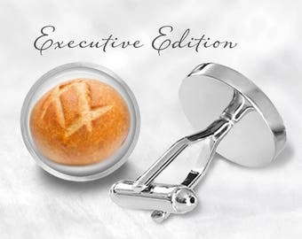 Sourdough Bread Cufflinks - Bread Cuff Links - Bread Loaf Cufflink - Baker Cufflinks (Pair) Lifetime Guarantee (S0847)