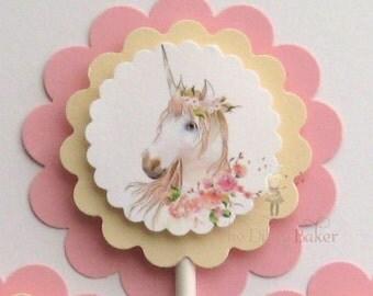 Unicorn Cupcake Topper - set of 12