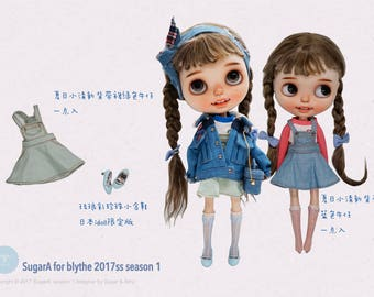 SugarA for neo blythe 17ss denim braces skirt