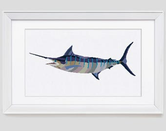Marlin cross stitch pattern, marlin counted cross stitch pattern, marlin modern cross stitch pattern, marlin cross stitch pdf pattern