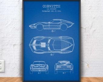 CORVETTE patent print, corvette poster, corvette blueprint, corvette illustration, muscle car prints, american car poster, #1304