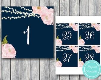 Night Lights Wedding Table Numbers Printable, DIY Table Number Sign, Wedding Table Numbers - Digital File, DIY Print TH65 TN32