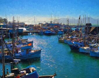 San Francisco Harbor Impressionist Fine Art Giclee Print, Modern Digital Wall Art Featuring Impressionist Rendition of Fisherman's Wharf