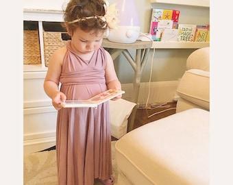 Mauve Infinity Dress, Baby Boho Dress, Girls Mauve Dress, Girls Maxi Dress Girls Dress Toddler Dress Boho Flowy Dress, Boho Flowergirl