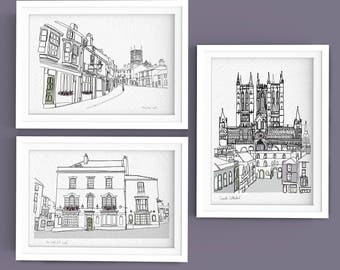 Lincoln Doodle Prints (set of three A4)