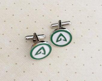 Green Arrow Cufflinks Cuff Links in Silver