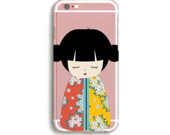 Japanese iPhone Case, Cute Phone Cases, Transparent iPhone 7 case, Cute iPhone 7 Case, Kawaii Phone Case // Original Art // iPhone 5, 6, 7