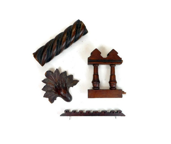 Antique Wood Fragments Wood Embellishments Carved Sculpted