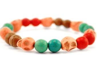 Beautiful Bright Howlite Turquoise Elastic Bracelet, Christmas, Birthday Gift Idea, Gemstone Beaded Bracelet, FREE UK SHIPPING