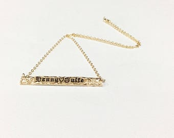 6mm gold filled horizontal pendant for name from 8 to 11 letters.