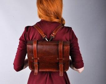 Retro satchel - backpack, whiskey color, laptop backpack, satchel