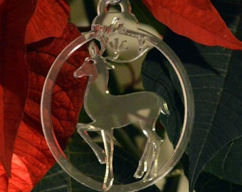 6 Pk Engraved Stag Reindeer Acrylic Christmas Decorations