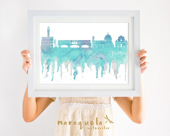 FLORENCE ITALY Skyline watercolor light blue,Italia decor, print travel,firenze,memory Toscana trip,wall art,italian city,bedroon livingroom