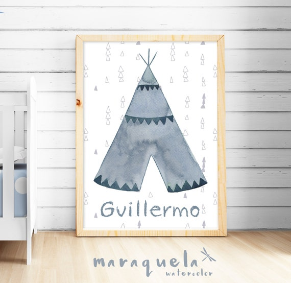 TEEPEE tribal style print for Boy SHOWER Custom name, watercolor prints for baby boy,room,blue hues,colors,decoration,nursery bedroom wall