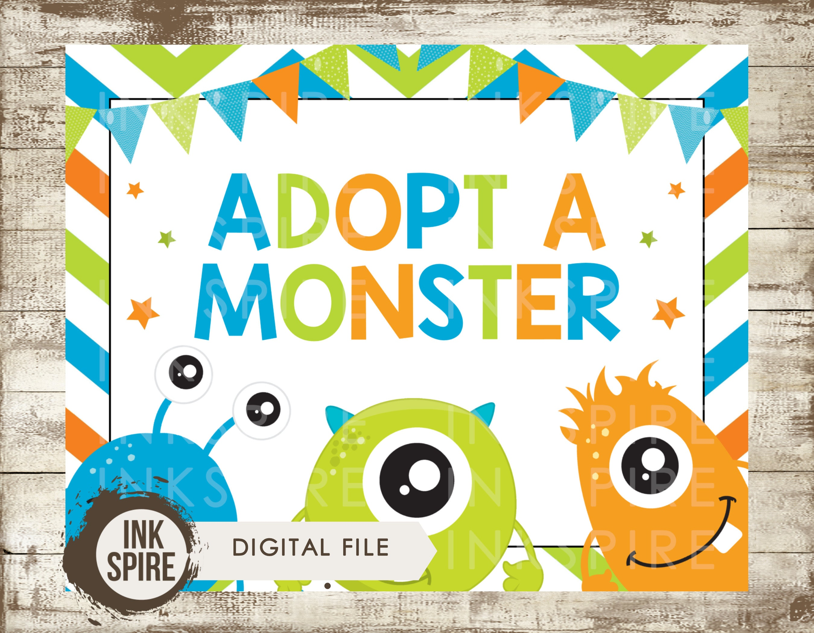 Adopt a Monster Birthday Sign, Little Monster Sign, Monster Party ...