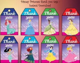 Instant Download - Disney's princesses thank you tags -  Disney's princesses Birthday ,Disney's princesses Label, Disney party