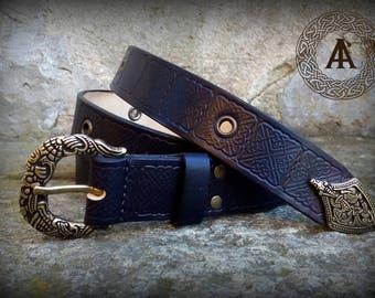 Black Leather Embossed Medieval Belt