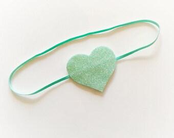 Mint green Baby / Toddler Skinny Headband with fine glitter heart