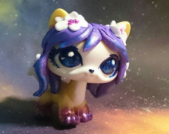 Lps custom cat space flowers  kitty ooak