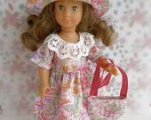 AMAZING PARTY OUTFIT in pink print, perfect for the Mini American Girl doll, Miss Amanda Jane, Middle Blythe, Skinny Ginny, New Bright