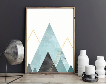 Modern art print, Abstract digital art, Printable Art , Abstract Poster ,Geometric Print Triangle Wall Art , triangle abstract art printable