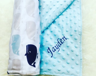 Personalized Baby Blanket- Embroidered Baby Blanket- Minky blanket- baby blanket with name- receiving blanket- ships within 2-5 days