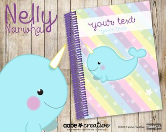My Fancypants Notebook: Nelly Narwhal (Handmade personalised notebook)