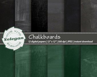 "Chalkboard Digital Papers "" Chalkboards "" Blackboard School Theme Background High Res Images Black and Green Printable Scrapbook Paper"