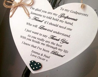 Godparent Heart Shaped Plaque
