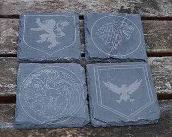 Game Of Thrones coasters, drink mats, coasters, set of 4, game of thrones, slate table mats, got table mats, personalised slate, mats,