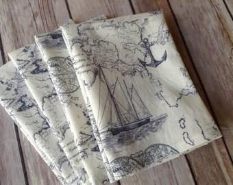 Nautical Cloth Napkins, Blue and White Beach Napkins, 12x12 Cotton Napkins, Set of 6