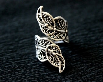 Ethnic Ring, Leaf Ring, Antique Silver Ring, Boho Brass Ring, Filigree Ring, Gypsy Ring, Tribal Fusion, Boho Ring, Kuchi Ring, Nature Ring