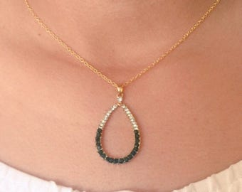 Dainty Crystal  Drop Necklace, Minimalist Necklace, Simple, Elegant