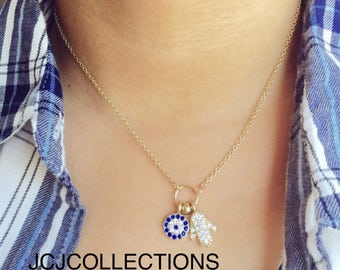 Hamsa Hand Gold Necklace, CZ Necklace