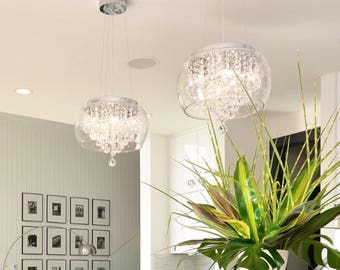 Charleston Glass Shade crystal chandelier