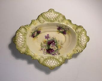 Ornate Green Purple and Gold Gilt Hand Painted Flower Serving Bowl - Possibly Copeland - Victorian Dish - Planter - English Vintage