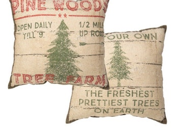 Pine Wood Tree Farms Vintage Farmhouse Super Soft Rustic Lodge Cabin Style Pillow