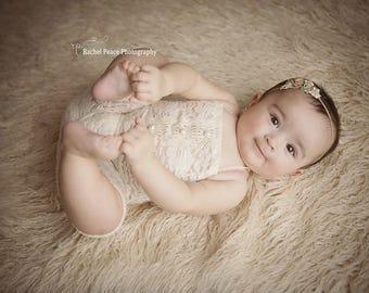 Baby Lace Romper, Newborn lace romper, Newborn romper set, beige baby Romper, Lace romper,  baby romper, baby girl romper, sitter romper