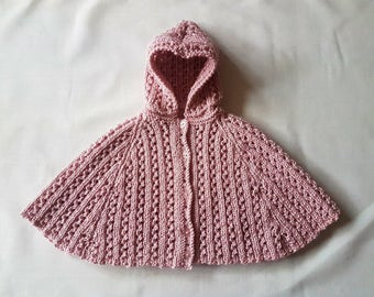 Hand-knitted DK sparkly baby cape/poncho