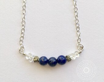 Lapis Lazuli, Pyrite, & Herkimer Diamond Bar Necklace